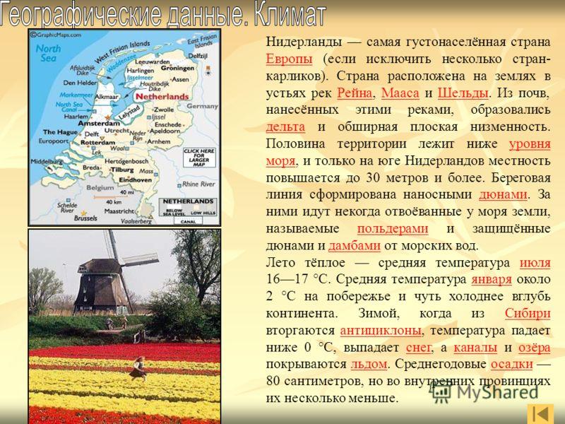 Нидерланды самая густонаселённая страна Европы (если исключить несколько стран- карликов). Страна расположена на землях в устьях рек Рейна, Мааса и Шельды. Из почв, нанесённых этими реками, образовались дельта и обширная плоская низменность. Половина