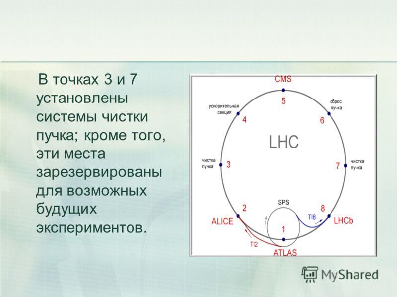 В точках 3 и 7 установлены системы чистки пучка; кроме того, эти места зарезервированы для возможных будущих экспериментов.