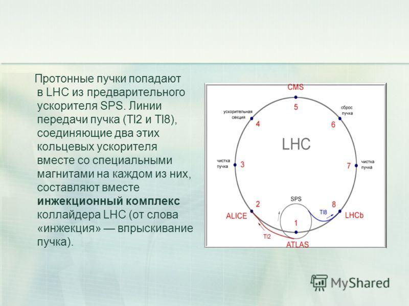 Протонные пучки попадают в LHC из предварительного ускорителя SPS. Линии передачи пучка (Tl2 и Tl8), соединяющие два этих кольцевых ускорителя вместе со специальными магнитами на каждом из них, составляют вместе инжекционный комплекс коллайдера LHC (