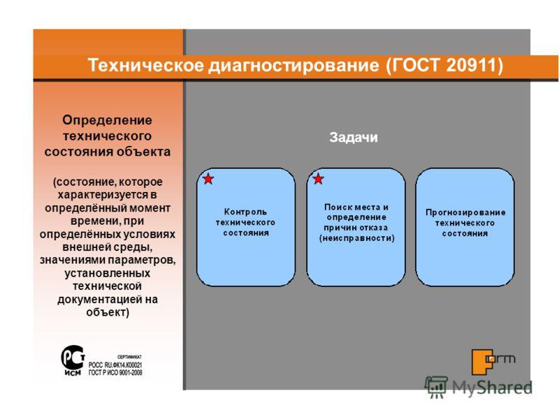 Определение технического состояния объекта (состояние, которое характеризуется в определённый момент времени, при определённых условиях внешней среды, значениями параметров, установленных технической документацией на объект) Техническое диагностирова