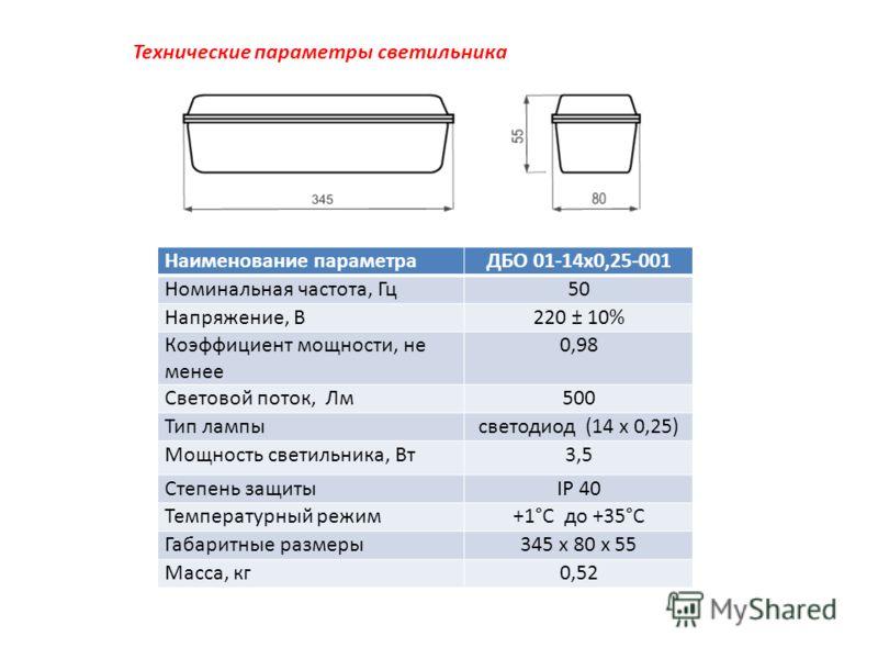 Технические параметры светильника Наименование параметраДБО 01-14х0,25-001 Номинальная частота, Гц50 Напряжение, В220 ± 10% Коэффициент мощности, не менее 0,98 Световой поток, Лм500 Тип лампысветодиод (14 х 0,25) Мощность светильника, Вт3,5 Степень з