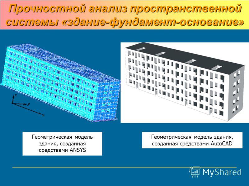 Геометрическая модель здания, созданная средствами AutoCAD Геометрическая модель здания, созданная средствами ANSYS Прочностной анализ пространственной системы «здание-фундамент-основание»