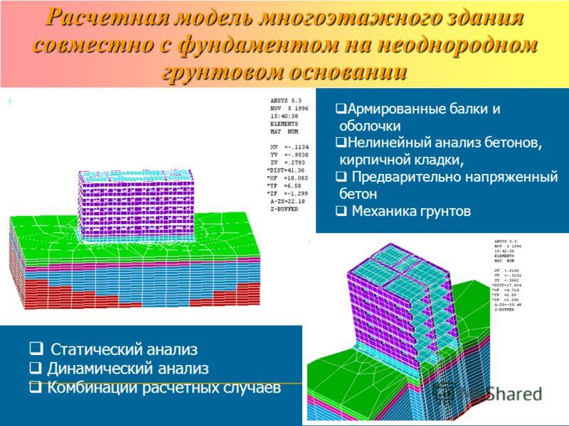 Расчетная модель многоэтажного здания совместно с фундаментом на неоднородном грунтовом основании Армированные балки и оболочки Нелинейный анализ бетонов, кирпичной кладки, Предварительно напряженный бетон Механика грунтов Статический анализ Динамиче