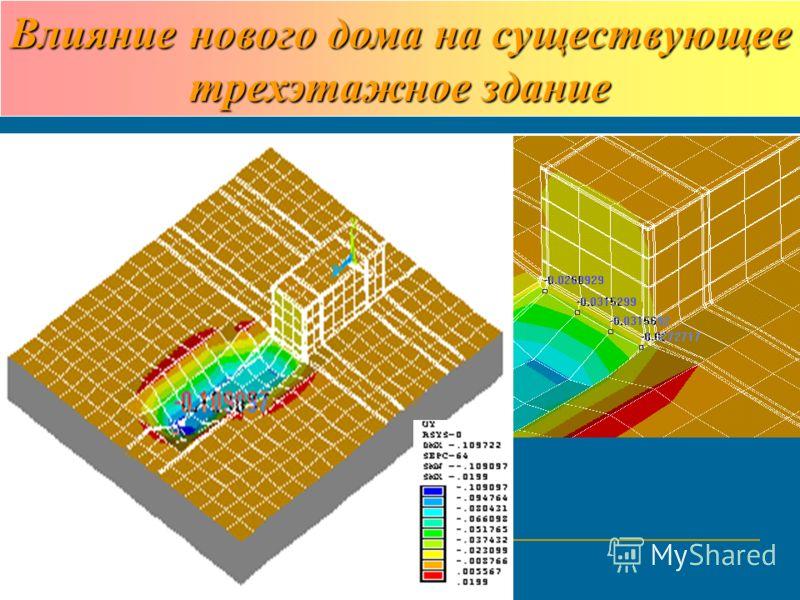 Влияние нового дома на существующее трехэтажное здание