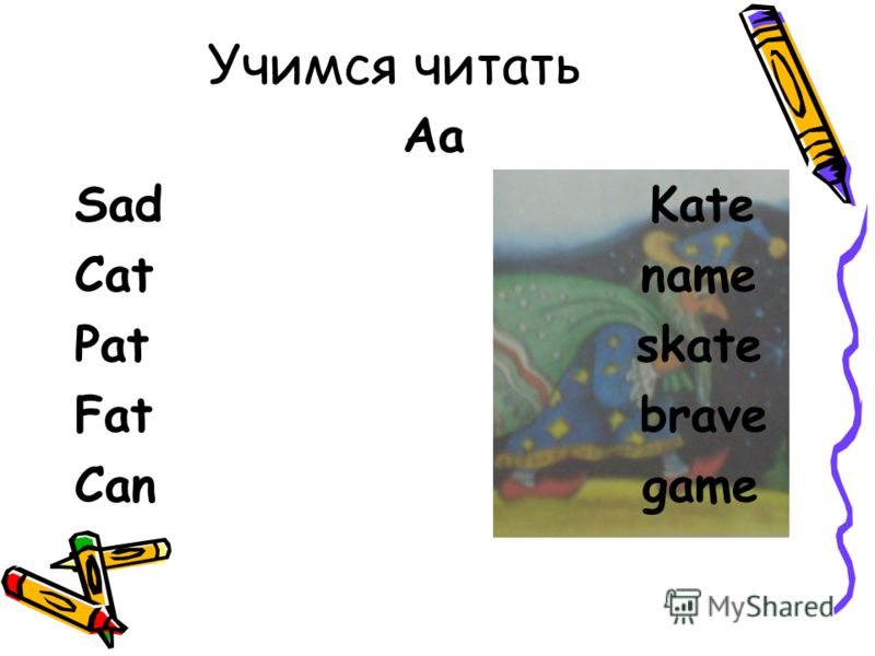 Учимся читать Aa Sad Kate Cat name Pat skate Fat brave Can game