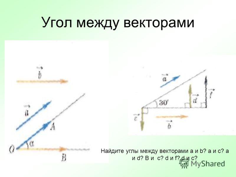 Угол между векторами Найдите углы между векторами а и b? a и c? a и d? B и c? d и f? d и c?