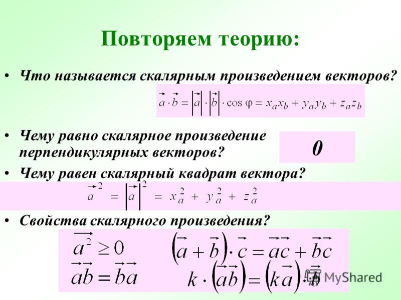 Повторяем теорию: Что называется скалярным произведением векторов? Чему равно скалярное произведение перпендикулярных векторов? Чему равен скалярный квадрат вектора? Свойства скалярного произведения? 0