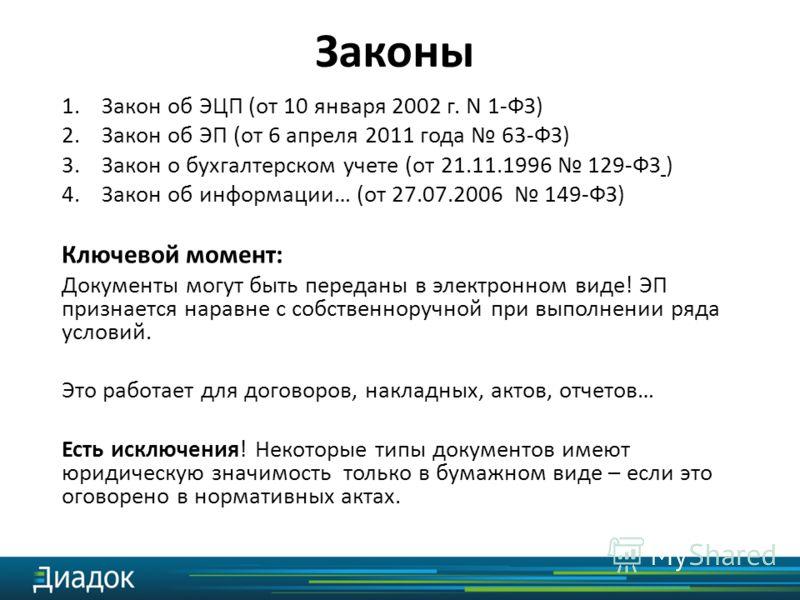 1.Закон об ЭЦП (от 10 января 2002 г. N 1-ФЗ) 2.Закон об ЭП (от 6 апреля 2011 года 63-ФЗ) 3.Закон о бухгалтерском учете (от 21.11.1996 129-ФЗ ) 4.Закон об информации… (от 27.07.2006 149-ФЗ) Ключевой момент: Документы могут быть переданы в электронном
