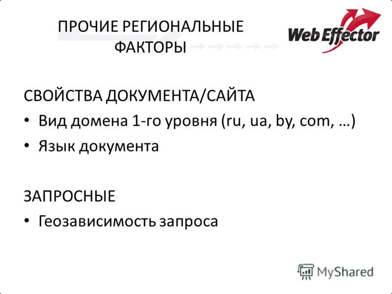 ПРОЧИЕ РЕГИОНАЛЬНЫЕ ФАКТОРЫ СВОЙСТВА ДОКУМЕНТА/САЙТА Вид домена 1-го уровня (ru, ua, by, com, …) Язык документа ЗАПРОСНЫЕ Геозависимость запроса