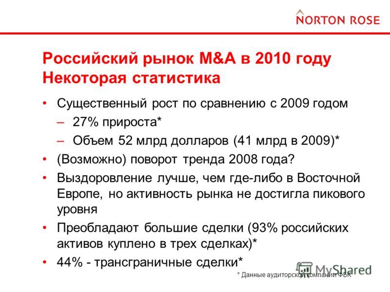 Российский рынок M&A в 2010 году Некоторая статистика Существенный рост по сравнению с 2009 годом –27% прироста* –Объем 52 млрд долларов (41 млрд в 2009)* (Возможно) поворот тренда 2008 года? Выздоровление лучше, чем где-либо в Восточной Европе, но а