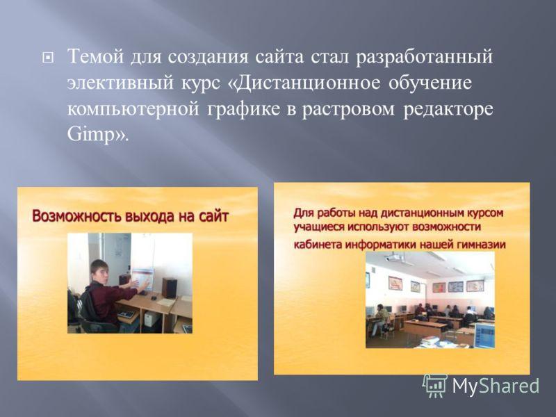 Темой для создания сайта стал разработанный элективный курс « Дистанционное обучение компьютерной графике в растровом редакторе Gimp».