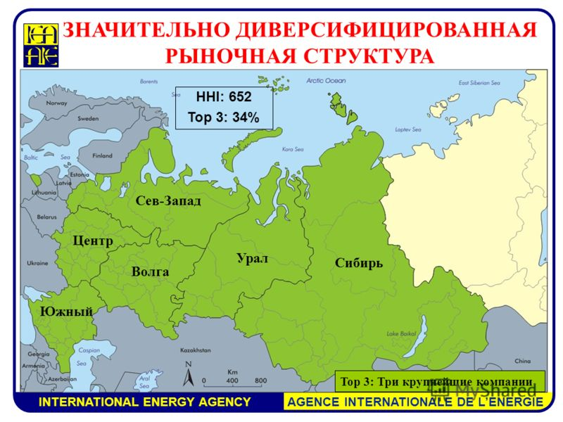 INTERNATIONAL ENERGY AGENCY AGENCE INTERNATIONALE DE LENERGIE Сев-Запад Волга Южный Центр Урал Сибирь HHI: 652 Top 3: 34% ЗНАЧИТЕЛЬНО ДИВЕРСИФИЦИРОВАННАЯ РЫНОЧНАЯ СТРУКТУРА Top 3: Три крупнейшие компании