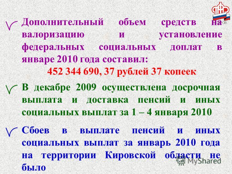 Дополнительный объем средств на валоризацию и установление федеральных социальных доплат в январе 2010 года составил: 452 344 690, 37 рублей 37 копеек Сбоев в выплате пенсий и иных социальных выплат за январь 2010 года на территории Кировской области