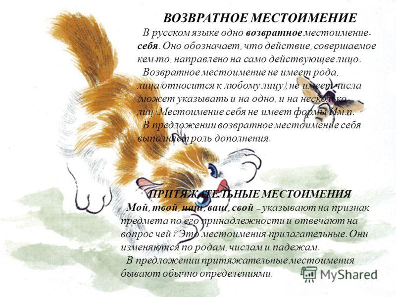 ВОЗВРАТНОЕ МЕСТОИМЕНИЕ В русском языке одно возвратное местоимение - себя. Оно обозначает, что действие, совершаемое кем - то, направлено на само действующее лицо. Возвратное местоимение не имеет рода, лица ( относится к любому лицу ), не имеет числа