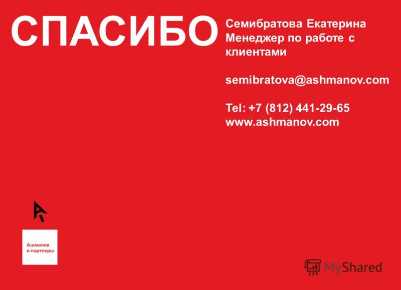 СПАСИБО Семибратова Екатерина Менеджер по работе с клиентами semibratova@ashmanov.com Tel: +7 (812) 441-29-65 www.ashmanov.com