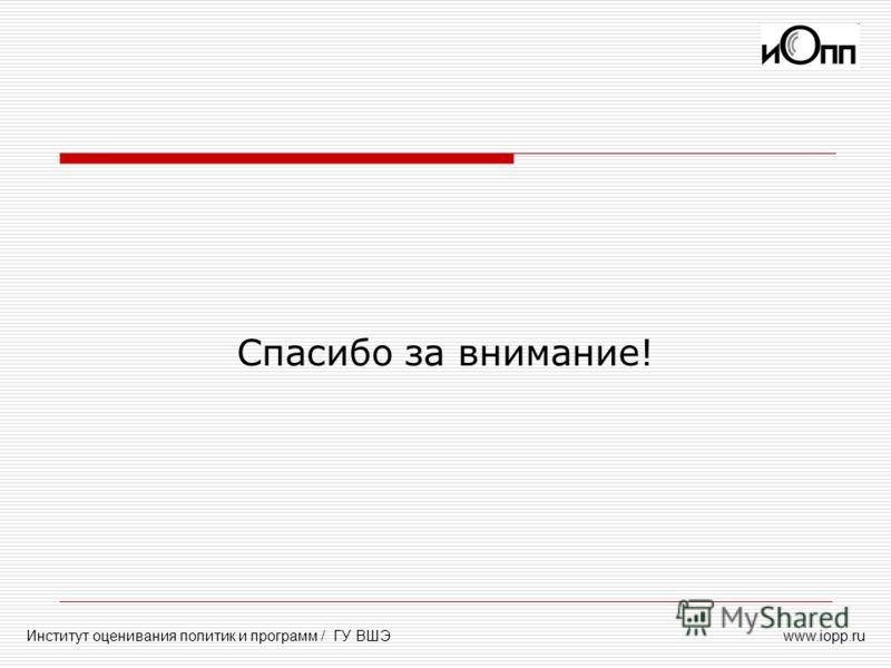 www.iopp.ruИнститут оценивания политик и программ / ГУ ВШЭ Спасибо за внимание!