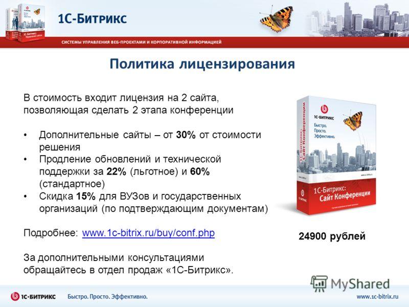 Политика лицензирования В стоимость входит лицензия на 2 сайта, позволяющая сделать 2 этапа конференции Дополнительные сайты – от 30% от стоимости решения Продление обновлений и технической поддержки за 22% (льготное) и 60% (стандартное) Скидка 15% д