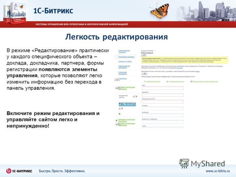 Легкость редактирования В режиме «Редактирование» практически у каждого специфического объекта – доклада, докладчика, партнера, формы регистрации появляются элементы управления, которые позволяют легко изменить информацию без перехода в панель управл