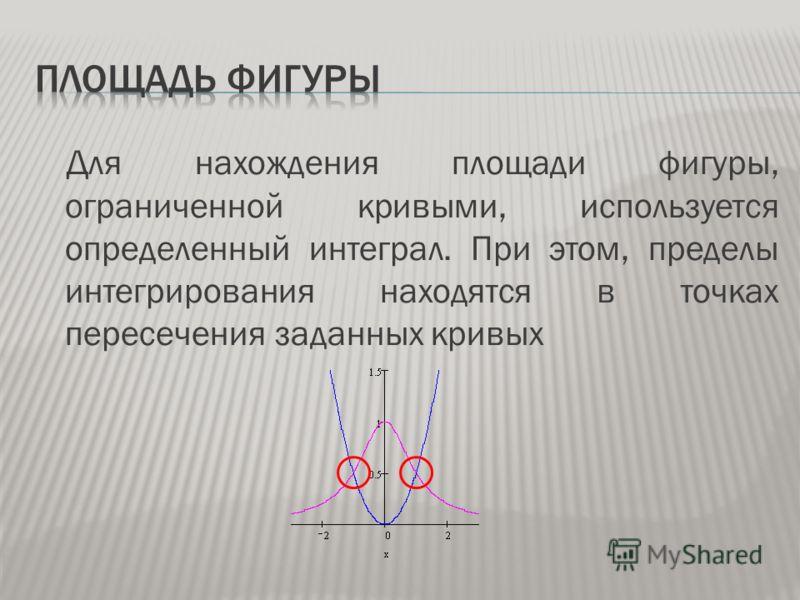 Для нахождения площади фигуры, ограниченной кривыми, используется определенный интеграл. При этом, пределы интегрирования находятся в точках пересечения заданных кривых