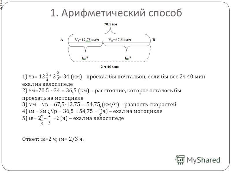 1. Арифметический способ 1) S в= 12 * 2 = 34 (км) –проехал бы почтальон, если бы все 2ч 40 мин ехал на велосипеде 2) S м=70,5 - 34 = 36,5 (км) – расстояние, которое осталось бы проехать на мотоцикле 3) V м – V в = 67,5-12,75 = 54,75 (км/ч) – разность