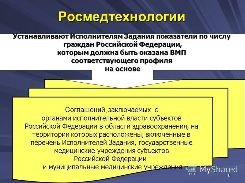 6 Росмедтехнологии Соглашений, заключаемых с органами исполнительной власти субъектов Российской Федерации в области здравоохранения, на территории которых расположены, включенные в перечень Исполнителей Задания, государственные медицинские учреждени