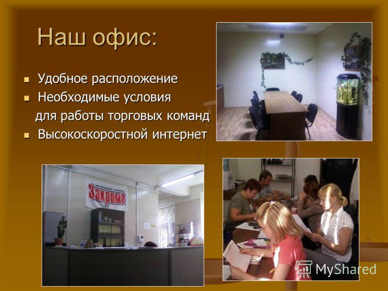 Наш офис: Наш офис: Удобное расположение Удобное расположение Необходимые условия Необходимые условия для работы торговых команд для работы торговых команд Высокоскоростной интернет Высокоскоростной интернет