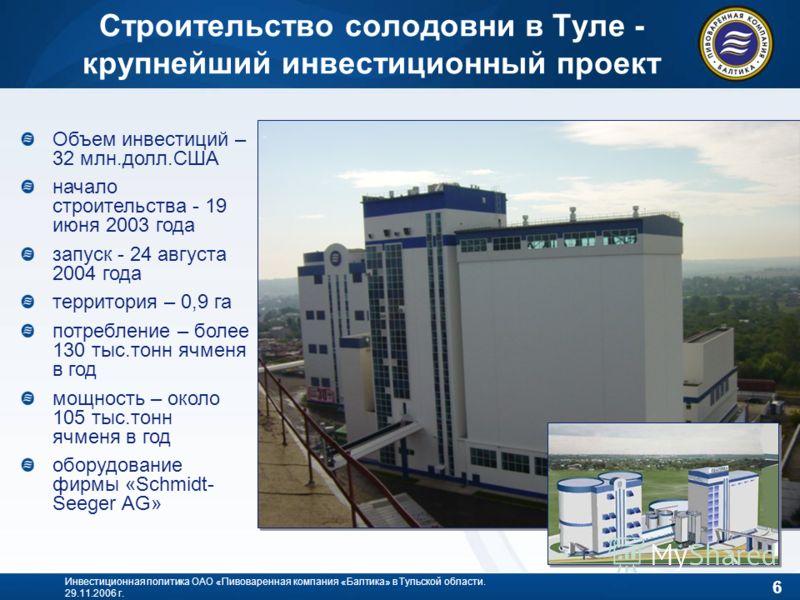 6 Инвестиционная политика ОАО «Пивоваренная компания «Балтика» в Тульской области. 29.11.2006 г. Строительство солодовни в Туле - крупнейший инвестиционный проект Объем инвестиций – 32 млн.долл.США начало строительства - 19 июня 2003 года запуск - 24