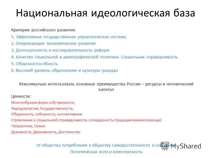 Национальная идеологическая база Критерии российского развития: 1. Эффективная государственная управленческая система 2. Опережающее экономическое развитие 3. Долгосрочность и последовательность реформ 4. Качество социальной и демографической политик