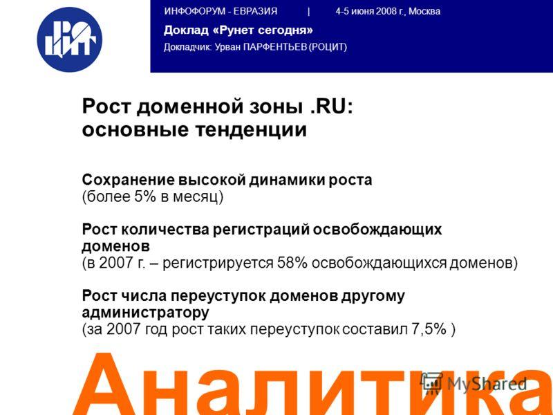 ИНФОФОРУМ - ЕВРАЗИЯ | 4-5 июня 2008 г., Москва Доклад «Рунет сегодня» Докладчик: Урван ПАРФЕНТЬЕВ (РОЦИТ) Аналитика Рост доменной зоны.RU: основные тенденции Сохранение высокой динамики роста (более 5% в месяц) Рост количества регистраций освобождающ