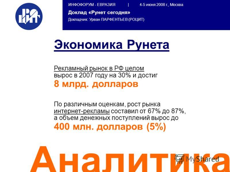 ИНФОФОРУМ - ЕВРАЗИЯ | 4-5 июня 2008 г., Москва Доклад «Рунет сегодня» Докладчик: Урван ПАРФЕНТЬЕВ (РОЦИТ) Аналитика Экономика Рунета Рекламный рынок в РФ целом вырос в 2007 году на 30% и достиг 8 млрд. долларов По различным оценкам, рост рынка интерн