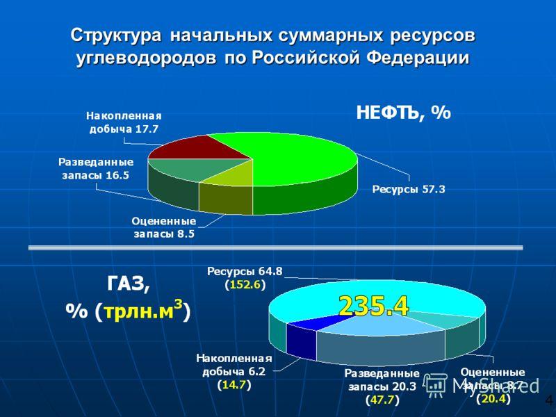 Структура начальных суммарных ресурсов углеводородов по Российской Федерации 4