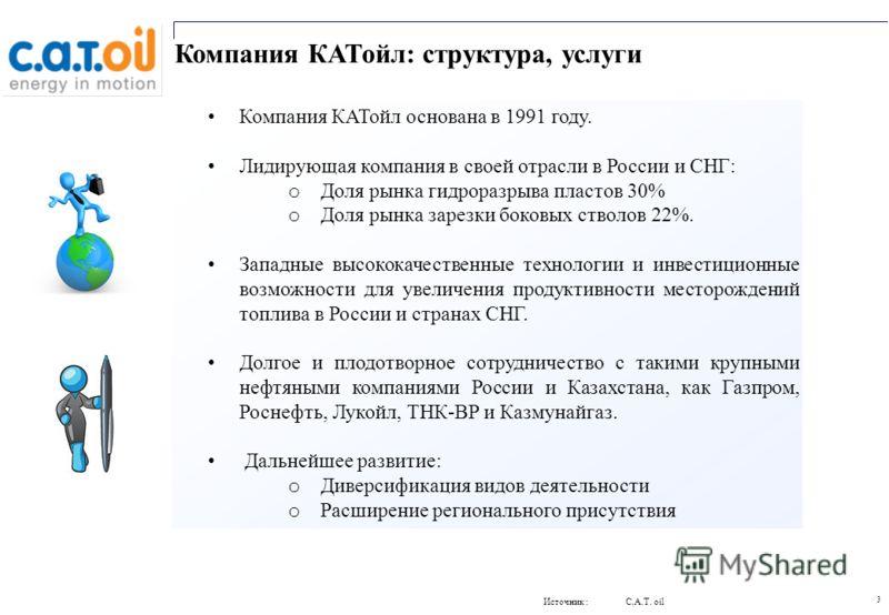 3 Компания КАТойл: структура, услуги Компания КАТойл основана в 1991 году. Лидирующая компания в своей отрасли в России и СНГ: o Доля рынка гидроразрыва пластов 30% o Доля рынка зарезки боковых стволов 22%. Западные высококачественные технологии и ин