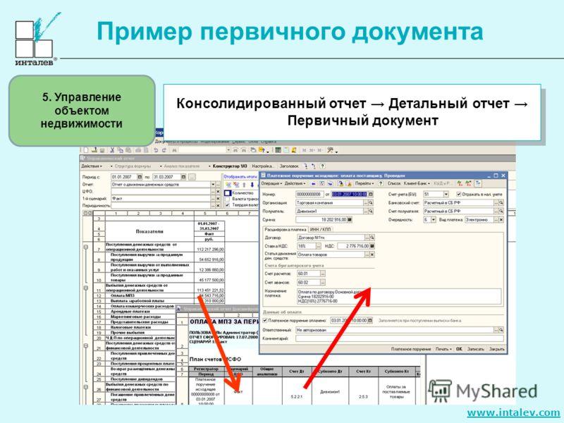 www.intalev.com Пример первичного документа Консолидированный отчет Детальный отчет Первичный документ 5. Управление объектом недвижимости