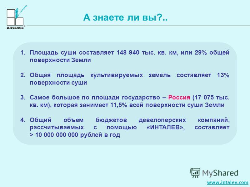 www.intalev.com А знаете ли вы?.. 1.Площадь суши составляет 148 940 тыс. кв. км, или 29% общей поверхности Земли 2.Общая площадь культивируемых земель составляет 13% поверхности суши 3.Самое большое по площади государство – Россия (17 075 тыс. кв. км