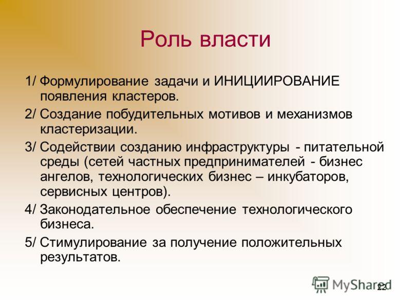 21 Кластеры в условиях рыночной экономики Украина приобрела статус страны с рыночной экономикой, где правит преимущественно не власть, а рынок. Кластеры в условиях рынка должны быть средством реализации рыночного механизма развития.