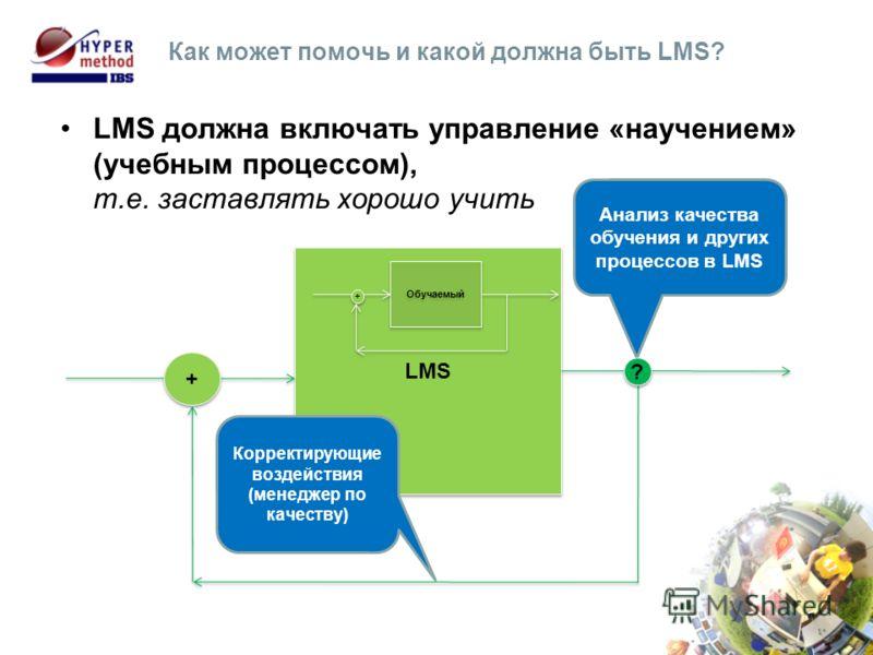LMS должна включать управление «научением» (учебным процессом), т.е. заставлять хорошо учить Как может помочь и какой должна быть LMS? LMS + + Анализ качества обучения и других процессов в LMS Корректирующие воздействия (менеджер по качеству) ? ? Обу