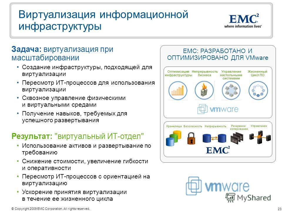 23 © Copyright 2009 EMC Corporation. All rights reserved. Виртуализация информационной инфраструктуры Результат: