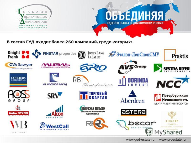 В состав ГУД входит более 260 компаний, среди которых: