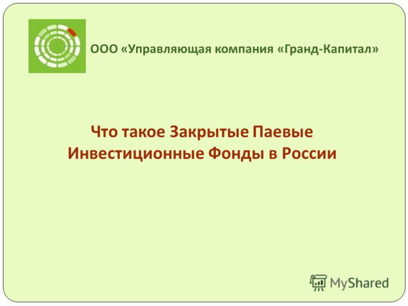 ООО « Управляющая компания « Гранд - Капитал » Что такое Закрытые Паевые Инвестиционные Фонды в России
