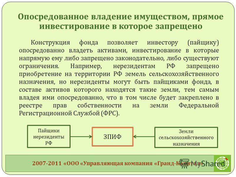 Конструкция фонда позволяет инвестору ( пайщику ) опосредованно владеть активами, инвестирование в которые напрямую ему либо запрещено законодательно, либо существуют ограничения. Например, нерезидентам РФ запрещено приобретение на территории РФ земе