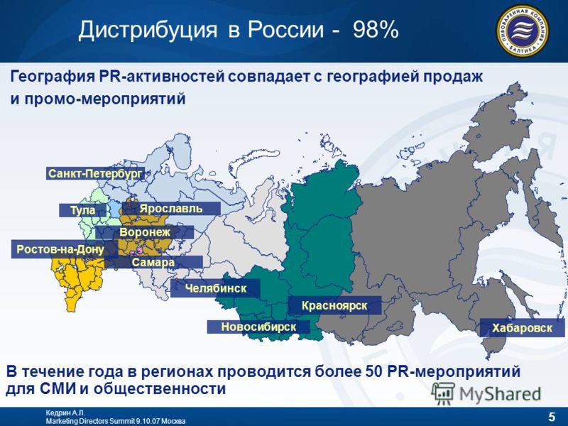 5 Кедрин А.Л. Marketing Directors Summit 9.10.07 Москва Дистрибуция в России - 98% География PR-активностей совпадает с географией продаж и промо-мероприятий В течение года в регионах проводится более 50 PR-мероприятий для СМИ и общественности Ростов