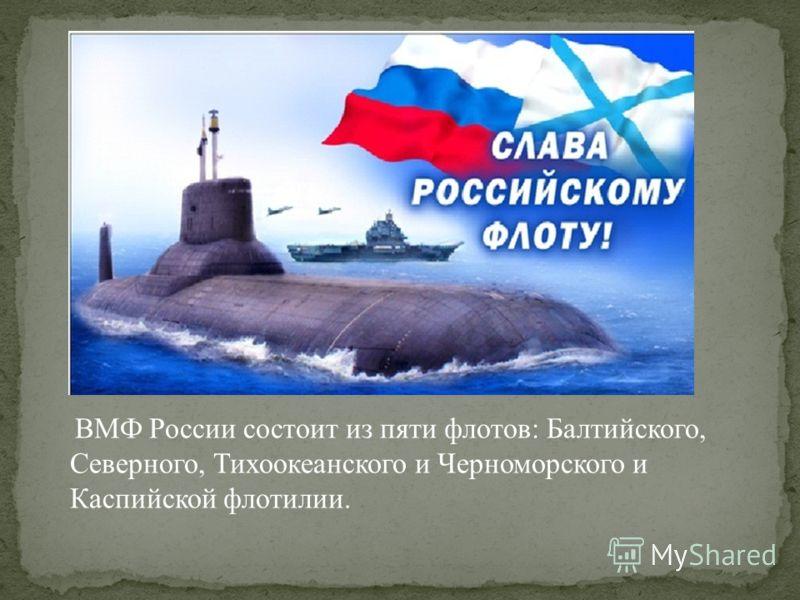 ВМФ России состоит из пяти флотов: Балтийского, Северного, Тихоокеанского и Черноморского и Каспийской флотилии.