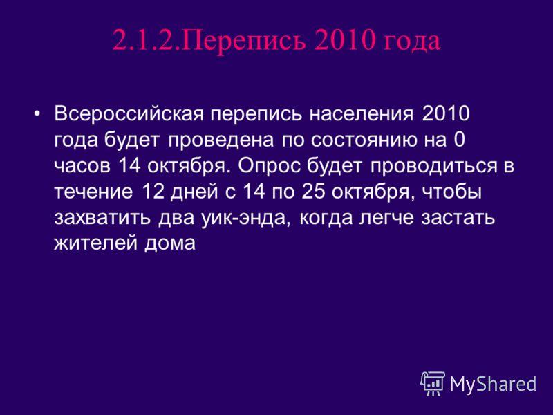2.1.2.Перепись 2010 года Всероссийская перепись населения 2010 года будет проведена по состоянию на 0 часов 14 октября. Опрос будет проводиться в течение 12 дней с 14 по 25 октября, чтобы захватить два уик-энда, когда легче застать жителей дома