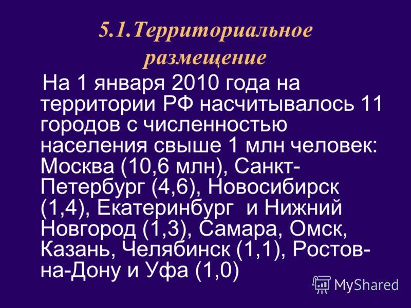 5.1.Территориальное размещение На 1 января 2010 года на территории РФ насчитывалось 11 городов с численностью населения свыше 1 млн человек: Москва (10,6 млн), Санкт- Петербург (4,6), Новосибирск (1,4), Екатеринбург и Нижний Новгород (1,3), Самара, О
