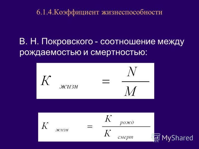 6.1.4.Коэффициент жизнеспособности В. Н. Покровского - соотношение между рождаемостью и смертностью: