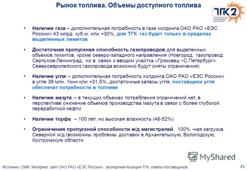 25 Рынок топлива. Объемы доступного топлива Наличие газа – дополнительная потребность в газе холдинга ОАО РАО «ЕЭС России» 43 млрд. куб.м. или +30%, для ТГК газ будет только в пределах выделенных лимитов Достаточная пропускная способность газопроводо