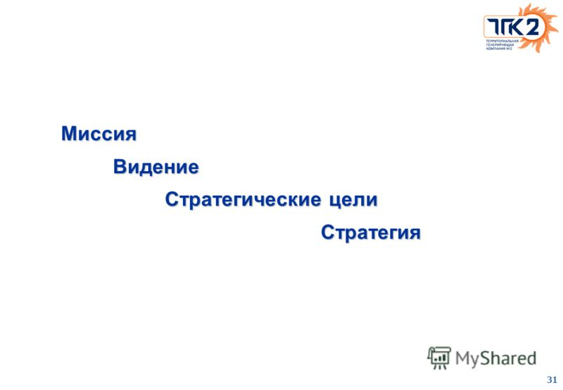 31 Миссия Видение Стратегические цели Стратегия
