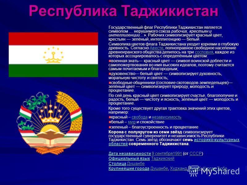 Республика Таджикистан Государственный флаг Республики Таджикистан является символом … нерушимого союза рабочих, крестьян и интеллигенции…». Рабочих символизирует красный цвет, крестьян зелёный, интеллигенцию белый. Символика цветов флага Таджикистан