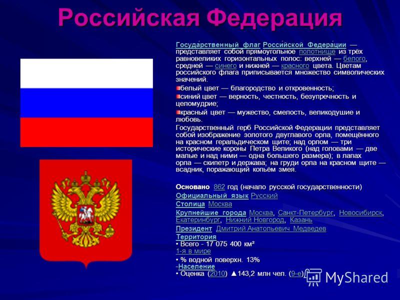 Российская Федерация Госуда́рственный флагГосуда́рственный флаг Росси́йской Федера́ции представляет собой прямоугольное полотнище из трёх равновеликих горизонтальных полос: верхней белого, средней синего и нижней красного цвета. Цветам российского фл
