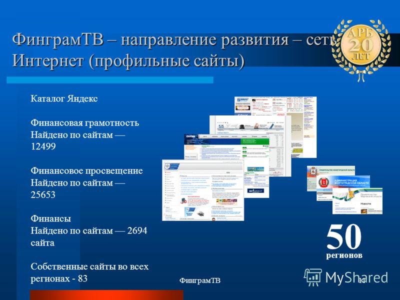 ФинграмТВ11 ФинграмТВ – направление развития – сеть Интернет (профильные сайты) Каталог Яндекс Финансовая грамотность Найдено по сайтам 12499 Финансовое просвещение Найдено по сайтам 25653 Финансы Найдено по сайтам 2694 сайта Собственные сайты во все